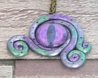Purple & Green Tentacle Eye Necklace, Sale Item, Cthulhu Necklace, Abstract Necklace, Kraken Necklace, Mermaid Necklace, Cthulhu Pendant