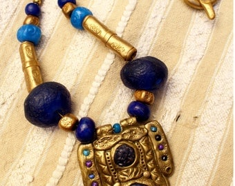 Medieval-Viking pendant necklace ultramarine blue and gold.