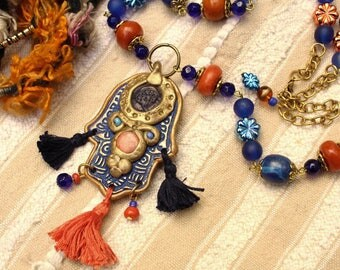 Oriental mala necklace hand of Fatima pendant and 3 tassels, indigo, orange and gold