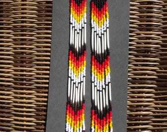 Porcupine quills earrings, extra-long. Native american earring. Nature inspired. Native jewelry. Traditional color. American Indian.