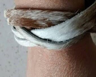 Bracelet braided leather genuine n1