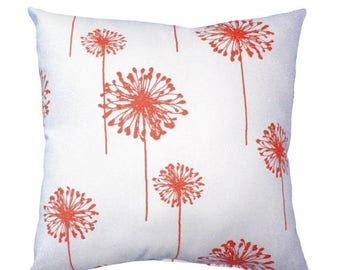 SALE Coral Throw Pillow - Coral Dandelion Decorative Pillow Cover - Floral Throw Pillows - Dandelion Coral - Coral Accent Pillow - Coral Pil