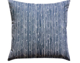 Navy Pillow Covers, Euro Sham Decorative Throw Pillow Cover, Scribble Navy Blue Pillow, Striped Pillow, Dark Blue Cushion Cover, Navy Pillow