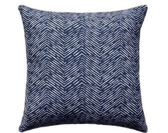 SALE Navy Blue Herringbone OUTDOOR Decorative Pillow Cover, Navy Throw Pillow, Patio Accent Pillow 12x16, 16x16, 18x18, 21x21, 23x23, 24x24