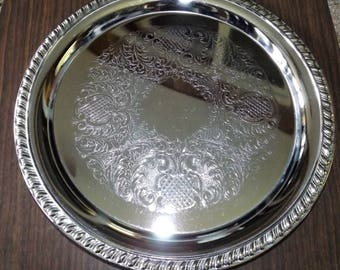 Silver Tray, Silver Serving Tray, Silver Platter, Silver, Vintage, Silver Plated Tray, Silverplate Tray, Serving Tray, Gift for Her, Round