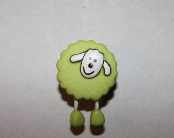 set of 5 sheep animal buttons green fantasy
