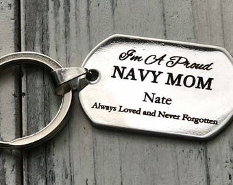 Proud Military Mom Personalized Key Chain - Engraved