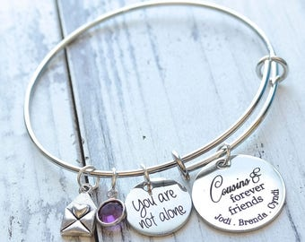 Cousins and Forever Friends Wire Adjustable Bangle Bracelet