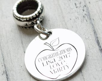 Teachers Apple Personalized Engraved Charm Bead