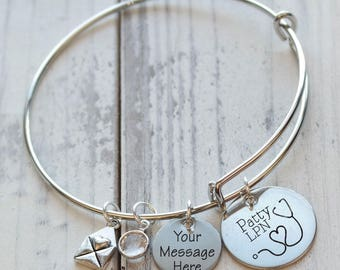 Nurses Have Heart Personalized Adjustable Wire Bangle Bracelet