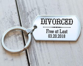 Divorced Free at Last Personalized Key Chain - Engraved