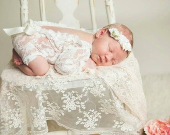 Lace Romper Newborn, Baby,  Photography Prop , Baby 0/3 months props