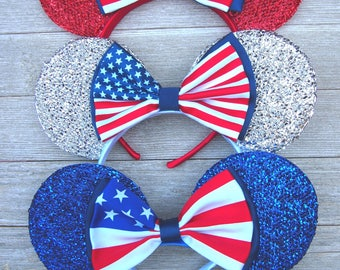 Minnie Mouse Ears - 4th of July Shimmer Silver American Flag Bow Red, White & Blue Headband Rockabilly 50's Pin Up Mickey US Fireworks