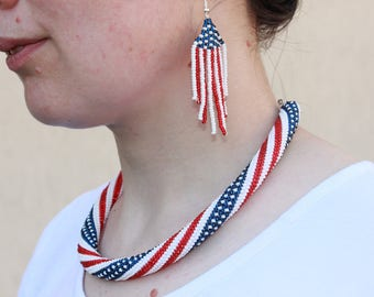 Ready to ship flag necklace flag jewelry 4th of july jewelry us patriotic jewelry americana jewelry USA necklace USA Independence Day