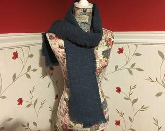 Blue Tweed Scarf- Ladies scarf - Womens- Mens - 100% wool - Soft - Unisex scarf