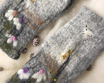 Felted Fingerless Gloves With flower, grey mittens,  wool mittens, felted mittens. Felted  mittens, Fingerless Mittens