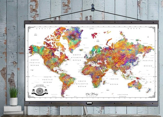 Large Push Pin Travel Map X Or X Canvas Hanging Map - 40x60 us maps