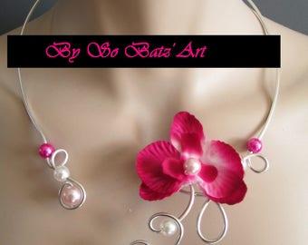 "Necklace + earrings ""Fleur de Batz"" Orchid and fuscia pink beads"