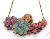 Laser Cut Rainbow Succulent Cluster Floral Statement Necklace, layered wood - Garden Plant Cacti Succulent Botanical Terrarium Jewellery