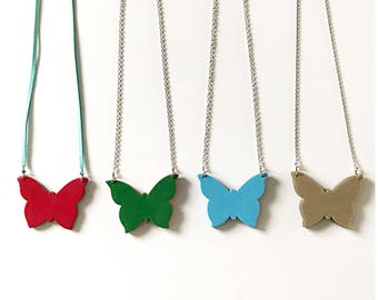 Bicolor butterfly pendants - two colors in one - handmade with polymer clay