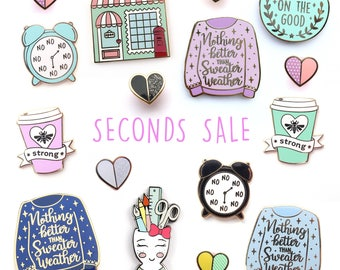 SECONDS SALE! Enamel Pin, hard enamel, brooche, enamel pins, pin badge, second pins, b grade, little lefty lou,