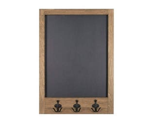 """Chalkboard with Black Anchor Hooks   Message Board with Hooks Custom Stain Options   20"""" x 28"""""""