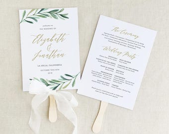 Greenery Wedding Programs Template, Printable Wedding Fan Program, Garden Rustic Theme, Editable in Word/Pages
