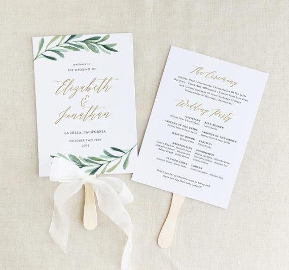 greenery wedding programs template printable wedding fan