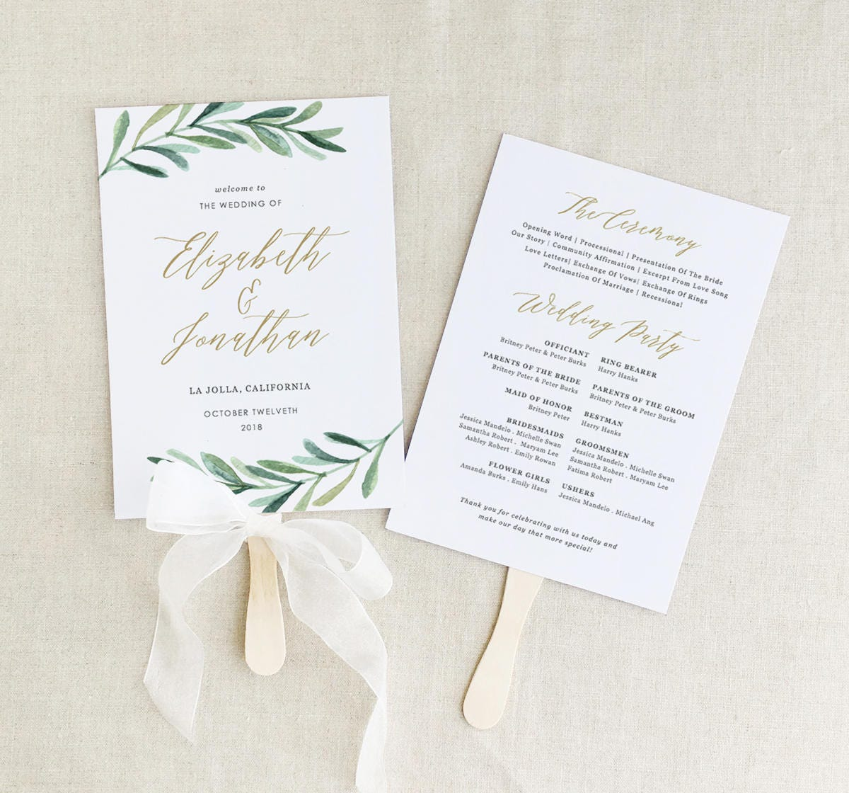 Greenery Wedding Programs Template Printable Wedding Fan Program - Pages wedding program template