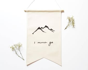 Canvas Banner / Mountains Are Calling / Wall Banner / Fabric Wall Hanging / Fabric Banner / Gifts for Nature Lovers / Mountain Silhouette