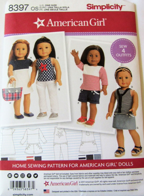 American Girl 8397 Simplicity Pattern For 18 Doll