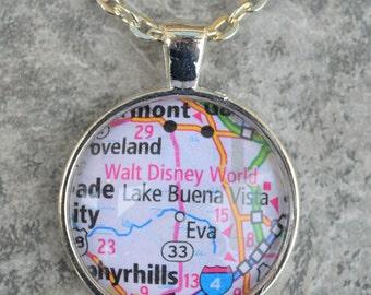 map pendant necklace - disney map - disney bachelorette - disney gift ideas - disney jewelry gift - disney wedding gift - disney vacation