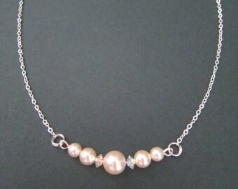 Swarovski Bride Cream Rose Pearl & Crystal Necklace, Bracelet and Earrings