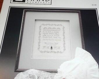 Heart In Hand Heiloom Baby Sampler Cross Stitch Pattern Leaflet