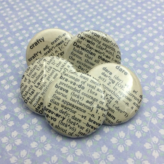 Personalized With Your Word From Dictionary #75 Pinback Flatback or Magnet 1.25""