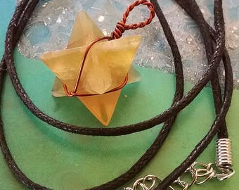 Yellow FLUORITE 3D MERKABA Star PENDANT with Copper Wrap, Sacred Geometry Necklace, With Hemp Chain