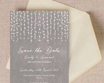 personalised dove grey fairy lights wedding save the date cards - Save The Date Wedding Invitations