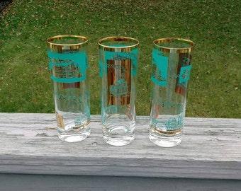 Vintage Southern Comfort steamboat Tom Collins glasses set of 3
