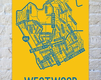 Westwood, Los Angeles Street Map Screen Print - College Town Maps