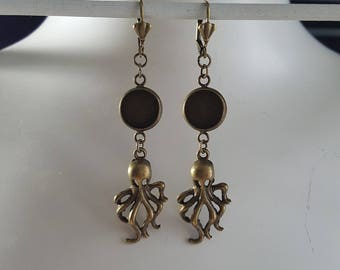 Ear jewellery, cabochon version, for 12 mm cabochons, Brisur, squid, octopus, setting,
