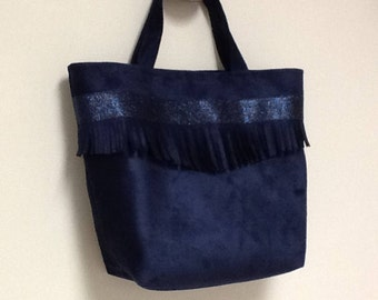Small bag worn hand bag/Navy Blue sequin Navy suede fringed / bag shape bag/tote bag with fringe and glitter/small bag