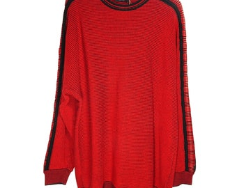 Carlo Coluccci knitted 90s red oversize sweater batsleeves