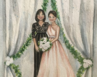 custom watercolor portrait/gift for mother