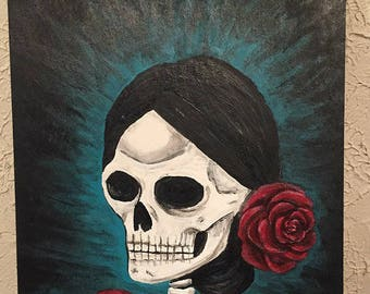 day of the dead painting,skeleton painting, 9x12  by nashana webb
