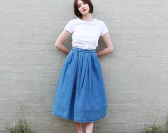 Vintage 1970s Denim Skirt / Made in USA / Full Skirt / Midi Denim Skirt / M/L