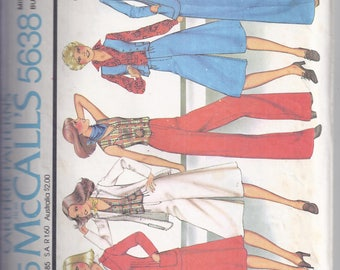 McCalls Pattern #5638 from  1977  Misses Unlined Jacket, Vest, Culottes and Pants  Bust 31 1/2