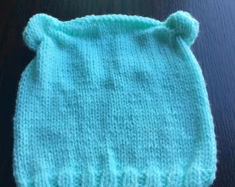 Ready to ship hand knit mint gender neutral baby bear hat