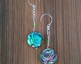 Long Dangle Abalone- Paua Shell, Peridot and Sterling Silver Earrings