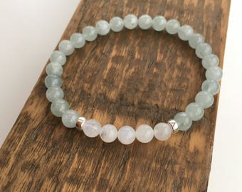 Aquamarine and Moonstone bracelet with Sterling silver, Aquamarine bracelet, gift for her, girlfriend gift, sister gift, March birthstone