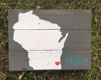 Wisconsin sign home is where the heart is home sign home decor state sign housewarming gift home gift realtor gift home state new home